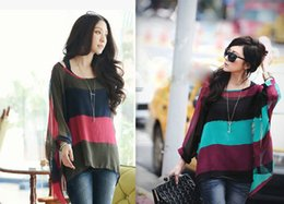 Wholesale Fashion lady loose shirts hollow out O Neck chiffon striped two pieces long sleeve women clothes S M L XL plus size colors WS032