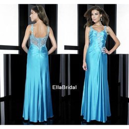 Wholesale A Line Aqua Taffeta Prom Dresses Beaded Sweetheart Sleeveless Fashionable Formal Gowns Dresses Pageant Dress