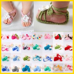 Wholesale Cute Baby Sandals Kids Summer Shoes Children Boys Girls Crochet Booties First Walkers Soft Bottom Toddler Barefoot Sandals Mix Styles ROMY