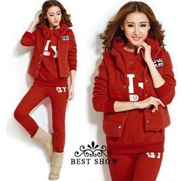 Wholesale NEW Autumn Winter Fashion Korean Style Thicken Fleece Casual Sport Suit For Women Plus Size Sweatshirt Vest Top Pants