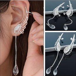 Wholesale Fashion Elegant Angel Wing Crystal Earrings Drop Dangle Ear Stud Cool Cuff Clip WAC048