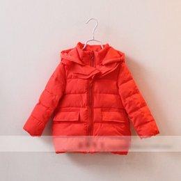 Wholesale New Winter children Flouncing Tench Coat warm zipper front hooded outwear girls pure color hot windbreaker children clothing LW8097 EMS