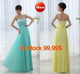 Wholesale SSJ In Stock Cheap Prom Evening Party Dresses Cheap Under New Beaded Yellow Chiffon Lace up Special Occasion Gowns