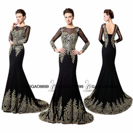Wholesale Real Imagem do bordado do ouro Sereia Vestidos de Noite Vestuário Long Black Sheer ocasião Neck Backless Árabe manga comprida Trumpet vestido de baile barato