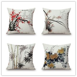 wintersweet bamboo orchid sofa cushion cover 24 styles chinese culture ink paint pillow cover bicycle pillow case sofa chair decoration gift - Chair Cushion Covers