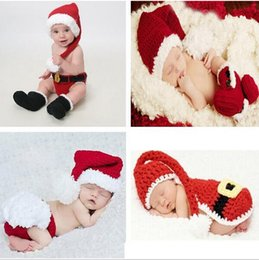 Wholesale 3 sets Handmade Crochet Christmas Hats Set Costume Hat Diaper Pants Set Newborn Baby Photo Props Toddler Santa Claus Photography Props