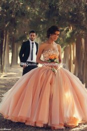 Wholesale 2015 New Quinceanera Dresses Strapless Coral Organza Crystals Beaded Laces up Back Ball Gown Debutante Dress vestidos de ga Ball Gown QD058