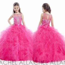 Wholesale 2016 Pageant Dresses For Teens Bling Crystals Beading Sheer Back Scoop Neck White Royal Blue Kids Girl Formal Party Dresses with Ruffles