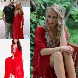 Wholesale 2015 Red Arabic Kaftan Formal Evening Gowns Middle East V Neck Dubai Sparkle Cystal Beaded Long Sleeve Muslim Women Prom Dresses Abaya