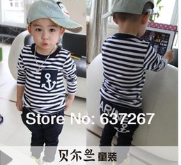 Wholesale Children s clothing new summer new fashion kids sets boys navy striped t shirt and pants suits