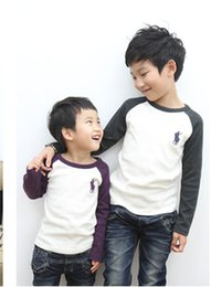 Wholesale Handsome boy Tshirt New Brand long sleeve spring autumn Children Boys T shirt kids Polo Casual Tees Tops Cotton Solid child T shirts
