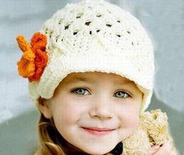 Wholesale DHL FREE lovely Crochet Handmade Knitted Baby Flower Crochet Hat Spring Crochet Girls Hat Baby Crocheted Beanie Caps Christmas Gift