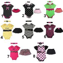 Wholesale 8 styles Newborn Baby Kids Pieces Clothes Polka Dot Headband Romper Ruffled Tutu Skirt Bodysuit Outfit Set Clothes B241