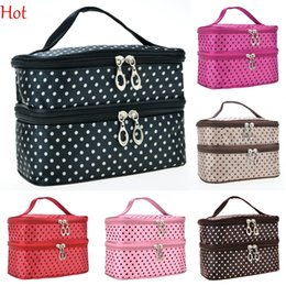 Wholesale Double Layer Small Dots Cosmetic Bag Makeup Tool Storage Bag Multifunctional Storage Package Professional Cosmetic Bags Red Pink SV012829