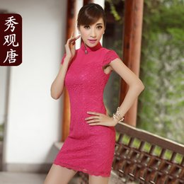 Wholesale Show concept Tang new Autumn Love silk sexy lace cheongsam improved everyday fashion vintage dress