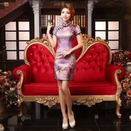 Wholesale New Purple Chinese Traditional qi pao Dress Women cotton Cheongsam Sexy Qipao Flower print cheongsam TZM Size S M L