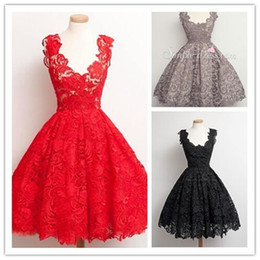 Wholesale 2016 In Stock Lace Homecoming Dresses Cheap Modest Cocktail Dress V Neck Capped Sleeveless Backless Zipper Prom Gown Party Evening Dress