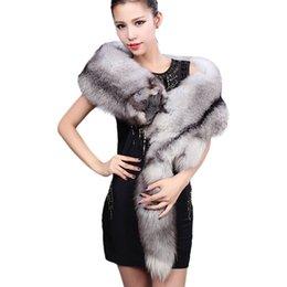 Wholesale Silver blue Fox Fur Scarves Shawl Natural Color quot