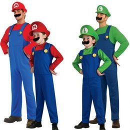 Wholesale Hot Sale Children Funy Cosplay Costume Super Mario Luigi Brothers Plumber Fancy Dress Up Party Costume Cute Kids Costume