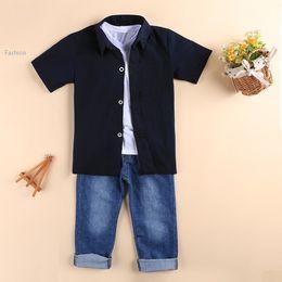 Wholesale High quality baby boy clothing set summer style new Cool White T shirt Blue Shirts Denim Pants kids clothes set