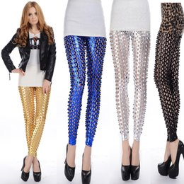 Wholesale 2016 Punk Metal Holes Fish Scale Pattern Bright Skin Slim Solid Color Leggings Women High Waist Bodycon Skinny Leggings Pencil Pants C387