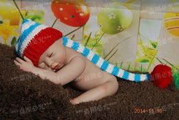 Wholesale Baby Hat Crochet Stripe Elf Hat Christmas hat Newborn Photo Prop Cotton