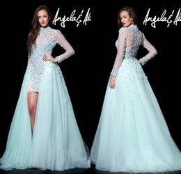 Wholesale 2015 Sexy Sheer High Neck Long Sleeves A Line High Low Prom Dresses Light Aqua Tulle Plus Size Evening Gowns New Arrival DL1314260