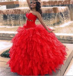 Wholesale Princess Red Ball Gown Sweet Sixteen Quinceanera Dresses Sweetheart Gold Beads Puffy Organza Purple Debutante Quinceanera Gowns Dresses