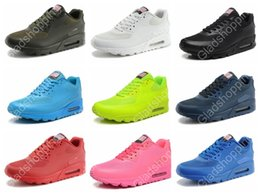 Discount Shoes Run Air Max 2015 Max 90 HYP PRM QS Men Women Running Shoes Air 90 Hyperfuse American Flag Black White Red Navy Blue Gold Silver Pink Sport Trainers