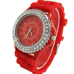 geneva rhinestone watches purple red online geneva rhinestone fashion watches for men women geneva silicone band quartz battery stainless steel rhinestone dial round casual sport student high grade gift