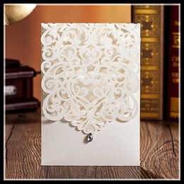 Wholesale Printable Wedding Invitation Cards White Lace Laser Cut Flora with Waterdrop Elegant Chinese Wedding Favors fast shipping