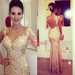 Wholesale Cheap Shining Gold Fitted Sheer Long Sleeve Prom Dresses Lace Appliques Open Back Sequin Prom Dresses Glitzy Pageant Gowns BO7336