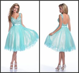 Wholesale 2015 Short Aqua Prom Party Dresses Embroidery Beaded Pageant Gowns V Neckline A Line KR Lace Bow Sash Formal Evening Dress Knee Length