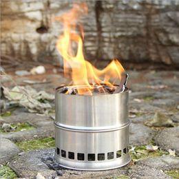Портативная нержавеющая сталь Легкая деревянная печь Затвердевшая спиртовая печь Кулинария для пикника на открытом воздухе BBQ Camping H11756