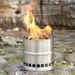 Poêle à bois léger en acier inoxydable portable Poêle en alcool solidifié Cuisine en plein air Pique-nique BBQ Camping H11756
