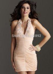 Wholesale Wow Elegant Champagne halter Homecoming Dresses Beading V Neck Short Prom Cocktail Dress Custom
