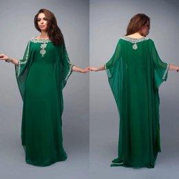 Wholesale 2015 Caftan Evening Dresses Long Dubai Muslim Kaftan Abayas Arabic Turkish Long Chiffon Party Dress Prom Dresses