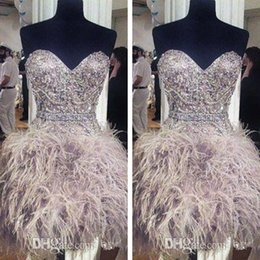 Wholesale 2016 Sexy Cocktail Party Dress Short Occasion Prom Evening Gown Sweetheart Beaded Crystals Feather Sash Gray Custom Made A Line Mini