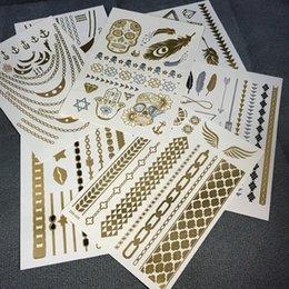 Wholesale Hot Sale Temporary Tattoo Stickers Metallic Gold Foil Tattoo Flash tattoos Gold Silver Temporary Tattoo Waterproof
