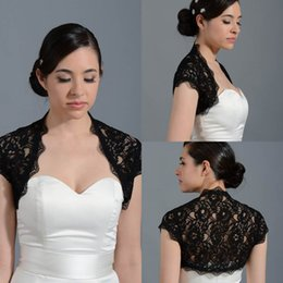Wholesale 2015 New Modest Front Open Cap Sleeve Lace Black Short Bolero Jacket Cap Wrap Shrug For Wedding Bridal Evening Party PJ032