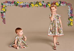 Wholesale Wl Monsoon Princess Dress Girl Costume Short Sleeve Girls Dress Children Clothing Lemon Pattern Fashion Kids Clothes Dresses for Girls