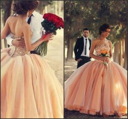 Wholesale 2015 New Quinceanera Dresses Strapless Coral Organza Crystals Beaded Laces up Back Ball Gown Debutante Dress vestidos de ga Ball Gown