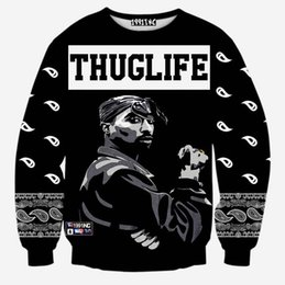 Wholesale Andy Europe And America fashion men s hip hop hoodies print Rapper pac Tupac d sweatshirt THUGLIFE hoodies