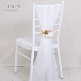 Wholesale 2016 Romantic Organza Wedding Party Anniversary Chair Sash Party Banquet Decorations Pieces Set Wedding Chair Sashes