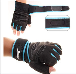 Wholesale 2015 Hot mens gloves Anti skid Half Mitt Fitness Gloves Wrist Wrap Weightlifting Workout Multifunction Exercise Training Gym Gloves