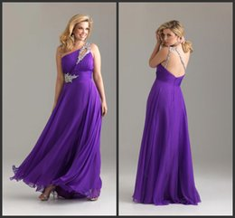 Wholesale Fantastic a line chiffon one shoulder beaded purple ruffle classic floor length party dresses prom dress
