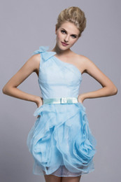 Wholesale Sexy New Party Dresses Ball One shoulder Bow Tiered Short Women Clothes Ruffles Backless Organza Cocktail Lady Gowns Custom Made