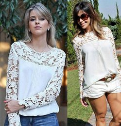 Wholesale 2015 Spring Fashion Women Chiffon Embroidery Lace Crochet Plus Size Tee Chiffon Shirt Top Blouse with Sheer Sleeve S M L XL XXL M116