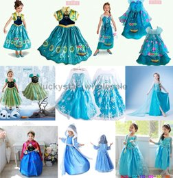 Wholesale Free DHL Frozen dresses Elsa Blue Dress Anna Dresses Kids Summer Gauze Clothing Princess Short Sleeve White Lace Party