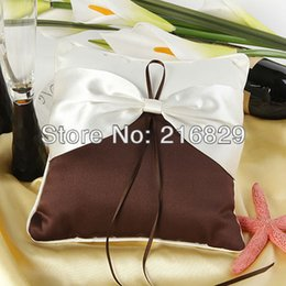 Wholesale Wedding Accessories White And Brwon Satin Ring Pillow With Sash Bow